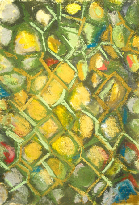 abstract, abstraction, allover, geometric cell pattern, contemporary soft pastel painting pas097,2003 | Kazuya Akimoto Art Museum