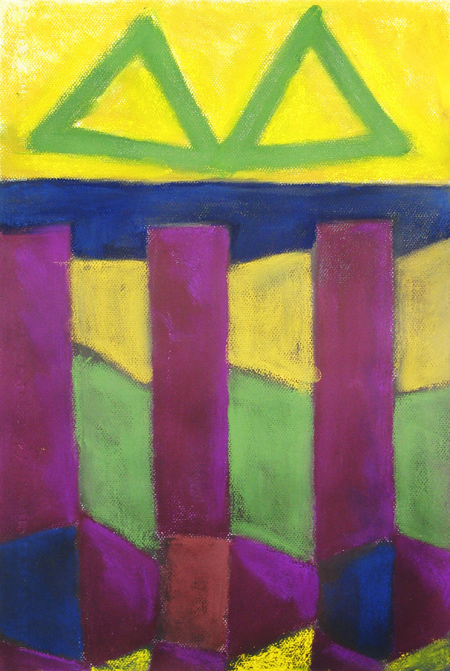 geometric landscape, abstract landscape, pastel abstract architecture  painting pas131,2003 | Kazuya Akimoto Art Museum