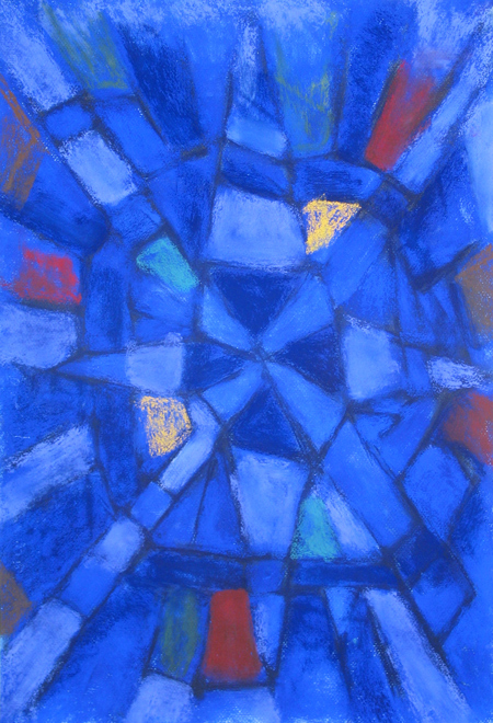 abstract astronomical form, abstract raw art painting, geometric pattern, abstract blue cross, soft pastel, blue color symbolism, abstract fragments, flakes,debris, astronomical symbolism, awkward line pattern, abstract symbolism, pas135, 2003 | Kazuya Akimoto Art Museum