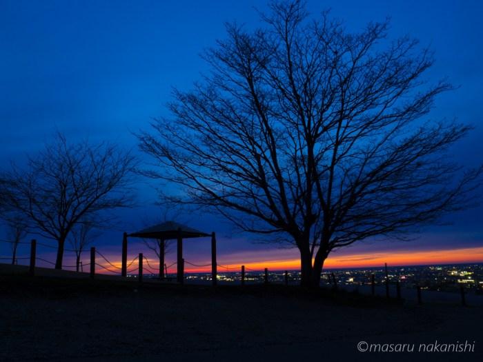 大乗寺丘陵公園からの夕日