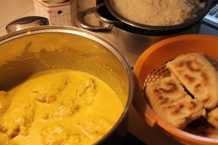 "Chicken Korma, Basmati Rice and MOROCCAN ""BATBUT"" BREAD"