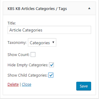 Configure KB Article Category Widget