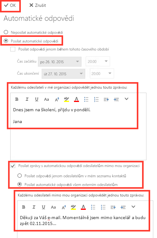 Office365 - text OOO