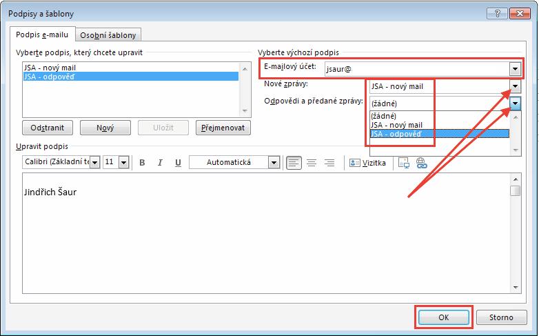 Outlook - Přiřazení podpisů