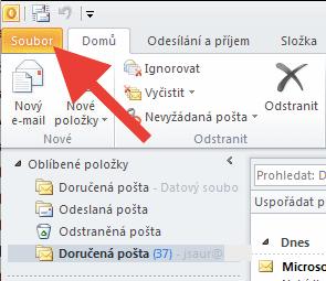 Outlook 2010 - menu Soubor