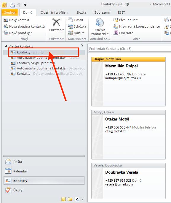 Outlook 2010 - Kontakty na serveru