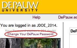 Image of Change Your DePauw Password link