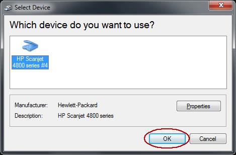 Image of Select Device dialog box