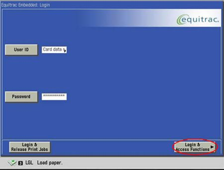 Image of login & access functions