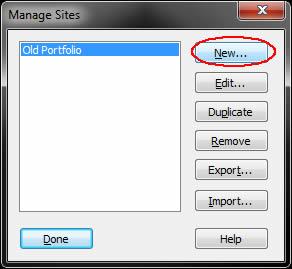 Image of manage sites dialog box