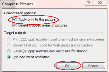 Image of Compress Pictures dialog box