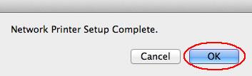Image of printer setup complete dialog box