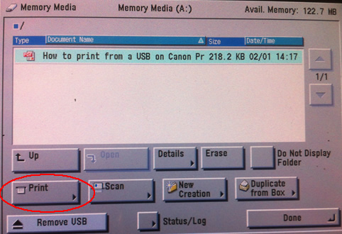 Image of Print from USB window
