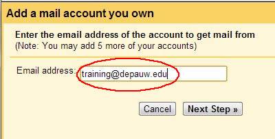 Name of DePauw account dialog box