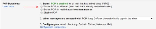 Image of Google mail POP settings