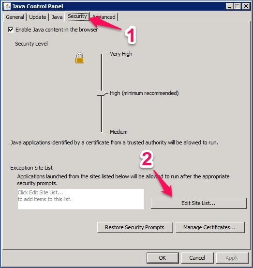 Java Control Panel Security Tab
