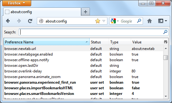 List of preferences in the about:config interface of Mozilla Firefox