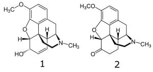 Codeine Hydrocodone Chemical Structures