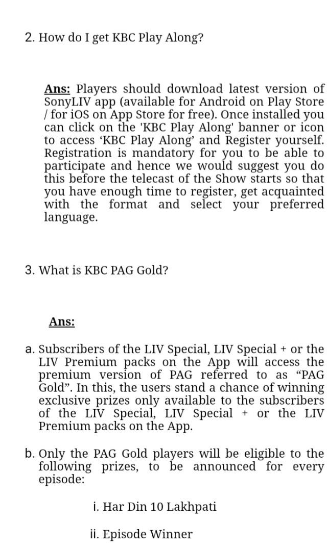 What is KBC Play ALong Gold