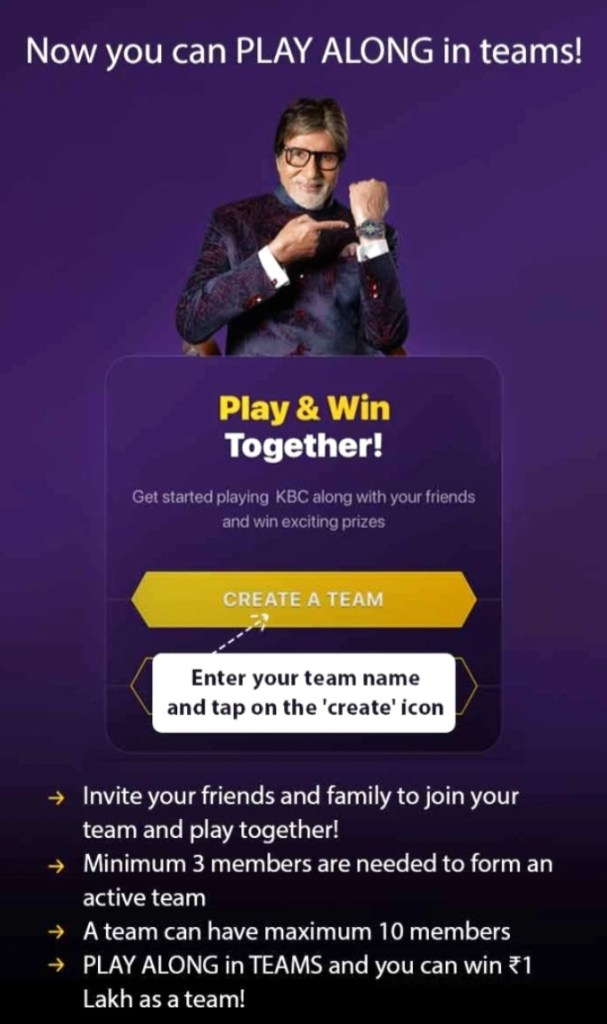 KBC Play Along Team – Play Now and win 1 lakh weekly