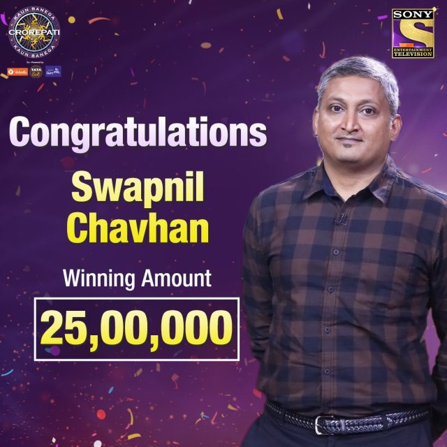 Congratulations SWAPNIL CHAVHAN for winning ₹25,00,000 on KBC12