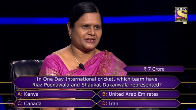 7 Crore Question : Ques : In One Day International cricket, which team have Riaz Poonamwala and Shaukat Dukanwala represented?