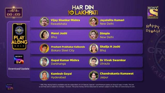 KBC Play Along Gold Winner – Episode 33 – Here are top 10 Names – Play Now