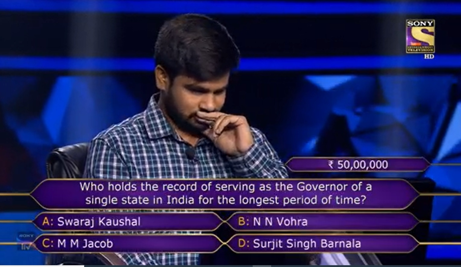 N N Vohra KBC Question