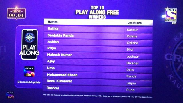 KBC Play Along Gold Winner – Episode 42 – Here are top 10 Names – Play Now