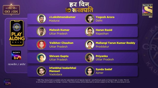 KBC Play Along Gold Winner – Episode 59 – Here are top 10 Names – Play Now