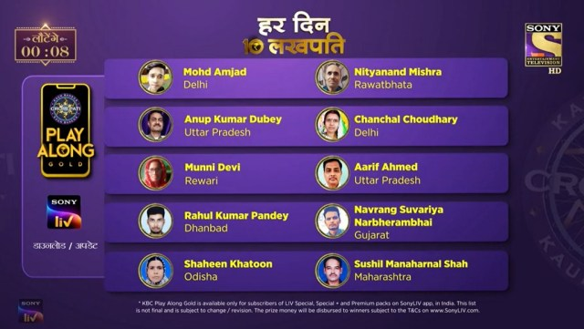 KBC Play Along Gold Winner – Episode 74 – Here are top 10 Names – Play Now