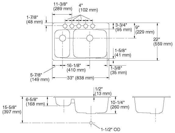 Kohler Lakefield Large-Small Cut Sheet