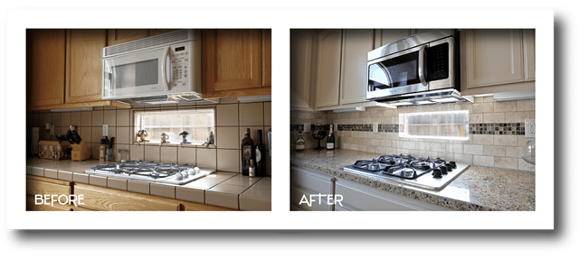 before and after stove, microwave, counter, cabinet, and backsplash.