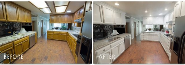 before and after stunning Escalon kitchen remodel.