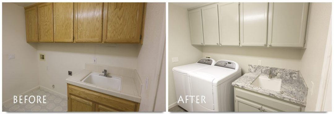before and after laundry room remodel.