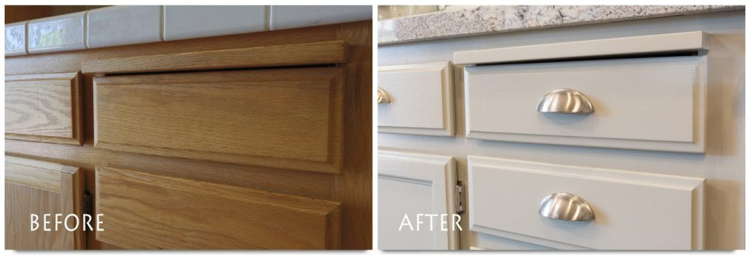 refinished cabinets and new hardware.
