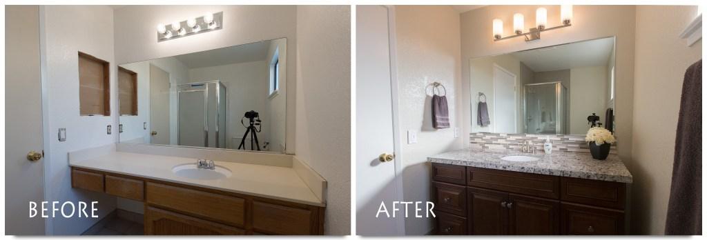 before and after vanity bathroom remodel.