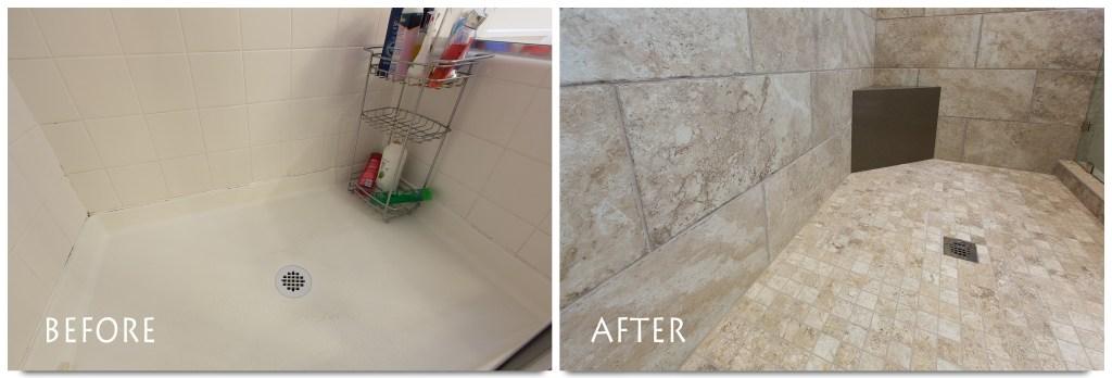 beautiful shower bathroom remodel.