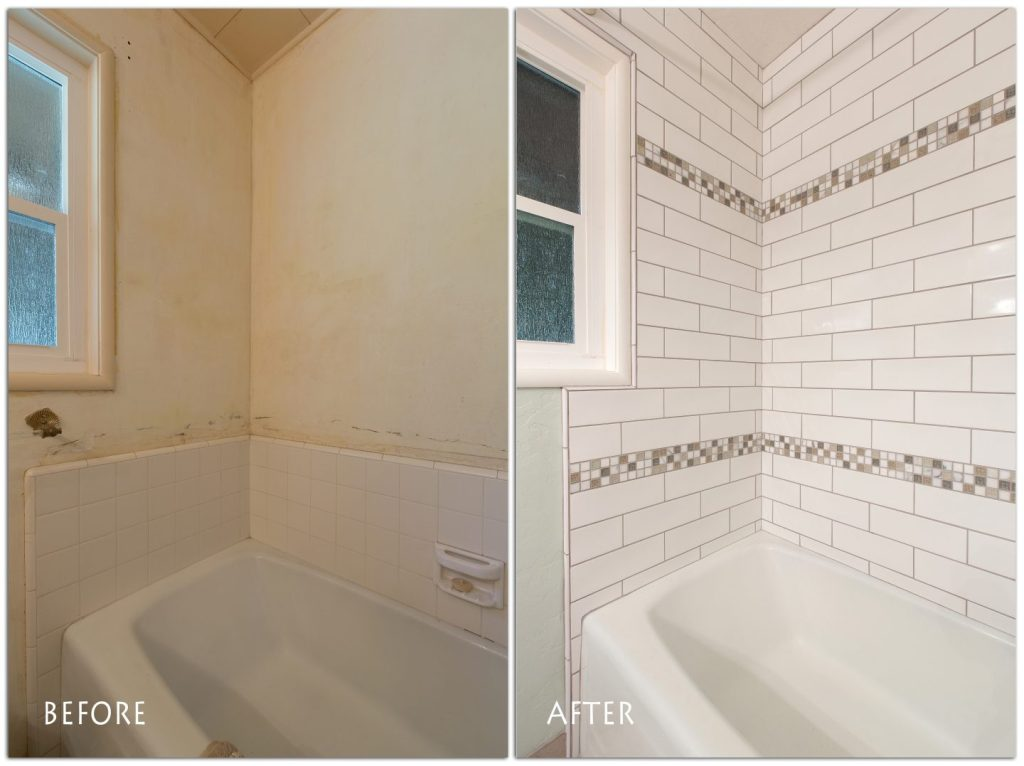 beautiful, full tile shower and bath.