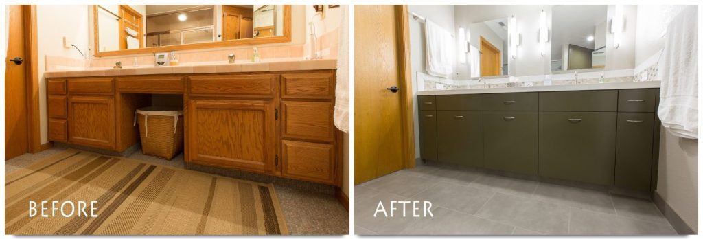 before and after vanity sink and mirrors.