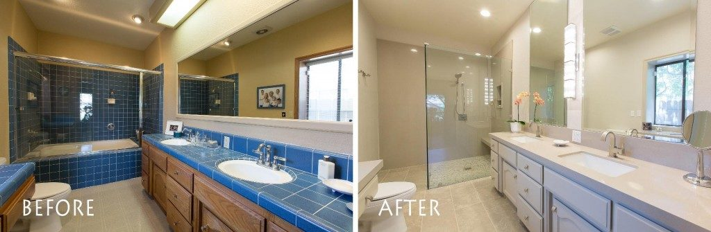 Before and after bathroom remodel.