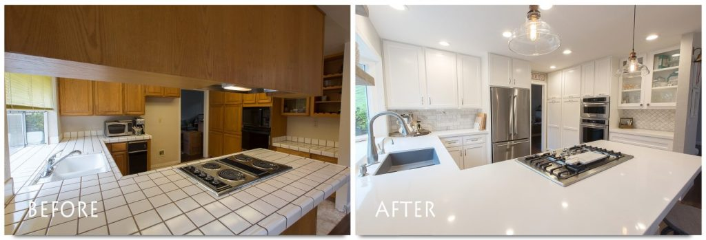 custom cabinets and new counter top.