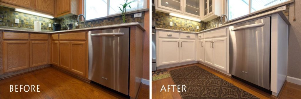 before and after kitchen refinishing transformation.