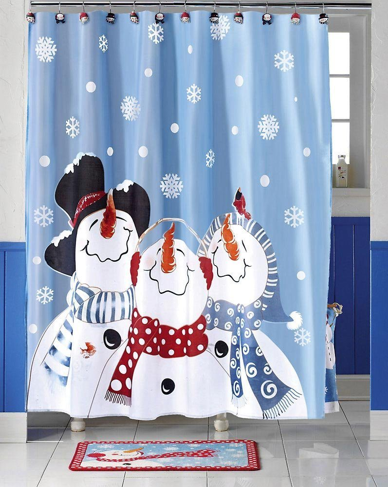 Modern Blue Snowman Shower Curtain Mold - Bathroom with Bathtub ...