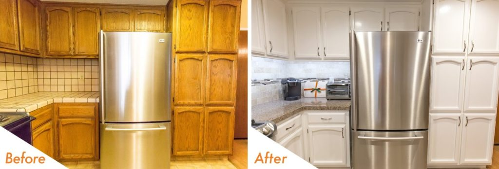 refinished cabinets.
