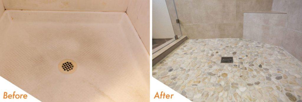 stone flooring in shower.