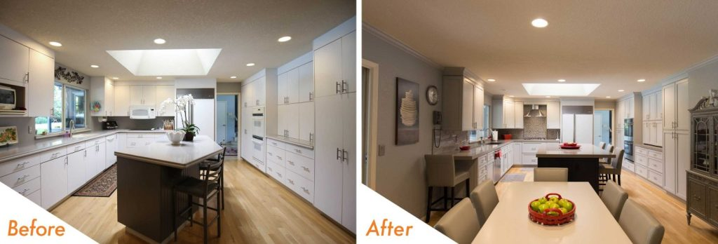 before and after kitchen remodel with custom kitchen island.