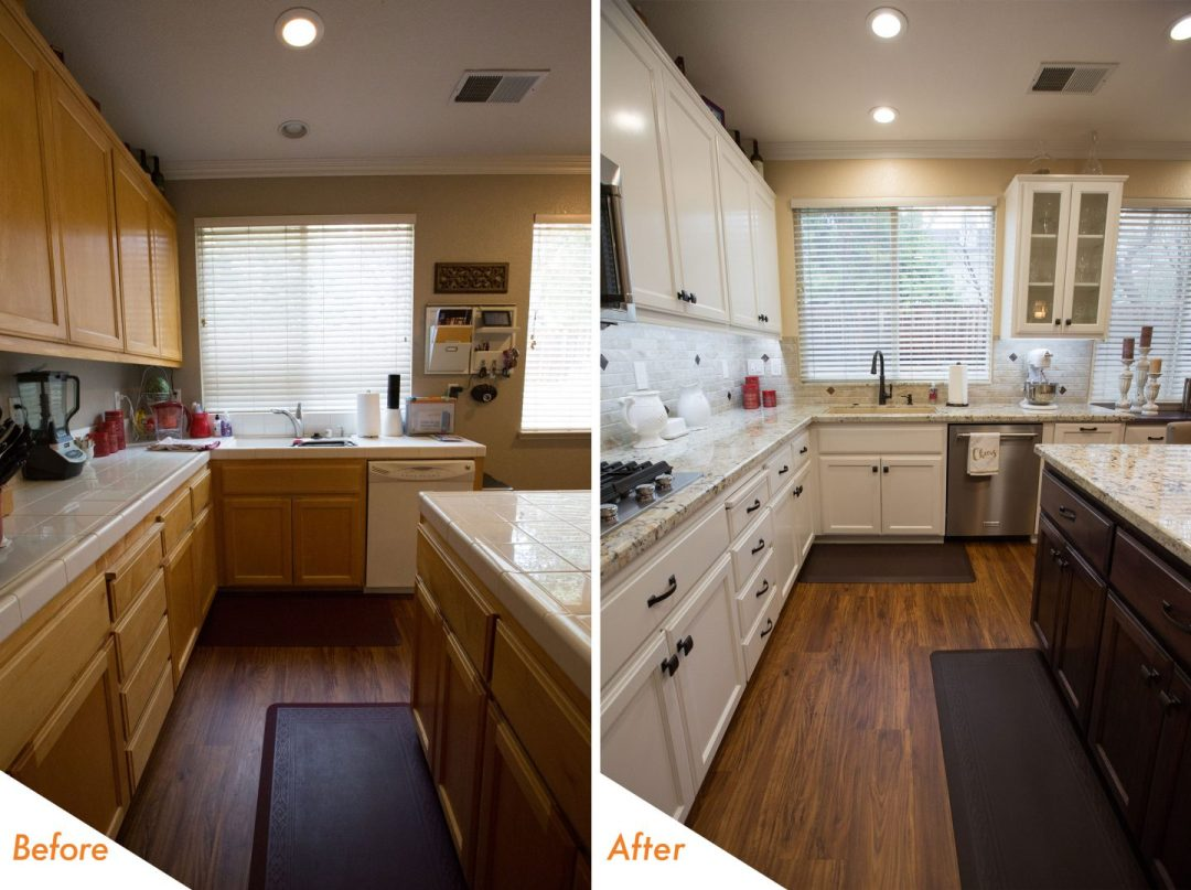 before and after custom kitchen remodel.