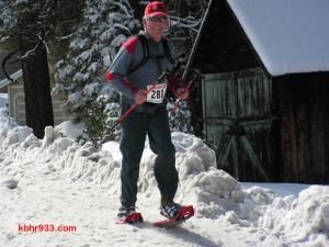 Snowshoer Tim Wood on the home stretch of the trail.