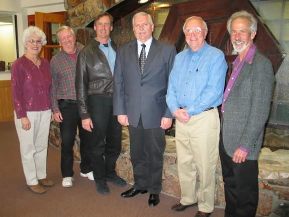 Rod Ballard (fourth from left) is named Big Bear Lake's new fire chief, following selection by the Fire Protection District, which is overseen by the City Council of Big Bear Lake.  From left, City Council members Liz Harris, Bill Jahn, Rick Herrick, new Chief Ballard, Darrell Mulvihill and Michael Karp.